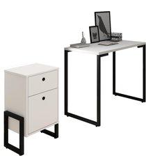 conjunto escritã³rio mesa escrivaninha 90cm e gaveteiro 2 gavetas new port f02 branco - mpozenato - branco - dafiti