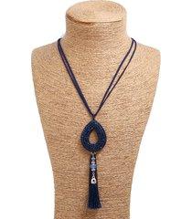 collana lunga pendente d'epoca ovale strass velluto nappe collana di fascino gioielli etnici per le donne