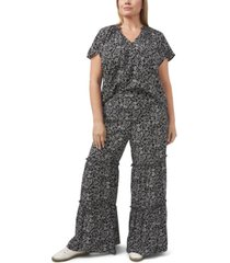 cece plus size printed ditsy ruffled pants