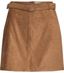 structured suede mini kort kjol brun hollister