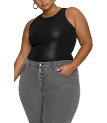 plus size women's good american faux leather tank bodysuit