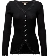 silk cardigan regular ls w/rev vint gebreide trui cardigan zwart rosemunde