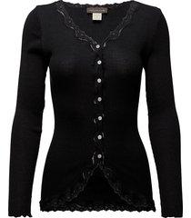 silk cardigan ls w/ lace gebreide trui cardigan zwart rosemunde