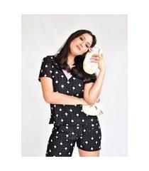 pijama adulto feminino liganete curto short doll preto balões