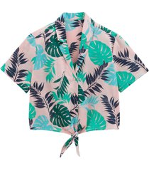 bladmönstrad skjorta med kort ärm
