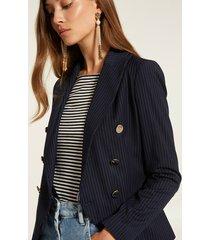 motivi blazer gessata con bottoni metallici donna blu