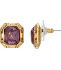 2028 women's gold tone purple square post earring