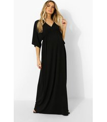 zwangerschap maxi jurk met vleermuismouwen en geplooide taille, black