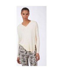 blusa de tricot ampla decote v baunilha