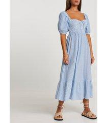 river island womens blue puff sleeve smock midi beach dress