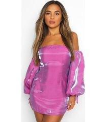petite glimmende bodycon jurk met volle mouwen, purple