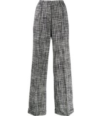off-white tweed wide-leg trousers - blue