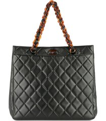 chanel pre-owned 1997-1999 plastic chain hand tote bag - black