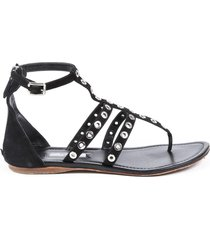 prada black suede grommet thong t-strap sandals black sz: 8.5