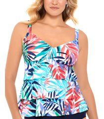 swim solutions palm springs printed tiered tankini top, created for macy's women's swimsuit