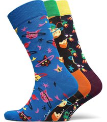 3-pack outer space socks gift set underwear socks regular socks multi/mönstrad happy socks