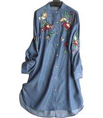 camicetta vintage a maniche lunghe irregolare con colletto alla coreana ricamato