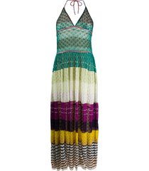 missoni crochet knit triangle top dress - green