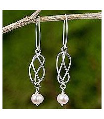 cultured pearl and sterling silver dangle earrings, 'soft whisper in pink' (thailand)
