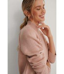 na-kd stickad tröja med sidoslits - pink