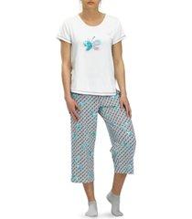 hue stay hopeful butterfly capri pajama pants set