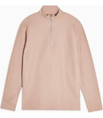 mens pink twill 1/4 zip sweatshirt