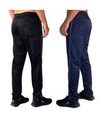 kit 2 calças esporte tecido agasalho cós de elástico bolso traseiro kit-0357 multicolorido