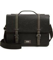 men's ted baker london advntr faux leather satchel - black