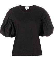 a.l.c. short puffed sleeve blouse - black
