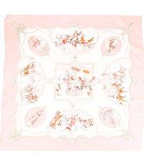 hermes les chevaux des silk scarf pink/multicolor sz: