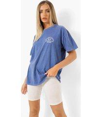 oversized overdye t-shirt met opdruk, navy