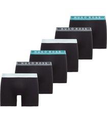 hugo boss 6-pack boxershorts boxer brief - zwart/grijs/blauw