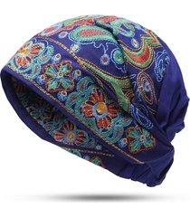 turbante in cotone con ricami etnici