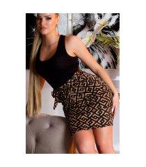 sexy hoge taille rok met print + riem zwartbruin