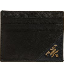 men's prada saffiano leather card case - black