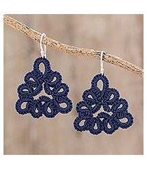 hand-tatted dangle earrings, 'petal essence in indigo' (guatemala)