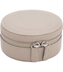 wolf sophia round zip case - beige