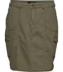 skirt plus cargo inspired zipper knälång kjol grön zizzi