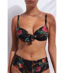calzedonia padded push up top swimsuit zante woman print size 5