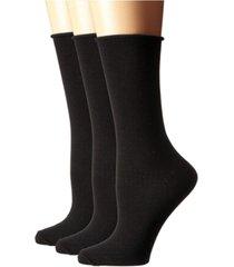 women's roll top comfort crew socks, 3 pair