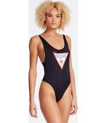 jednoczęściowy kostium kąpielowy z trójkątnym logo