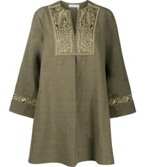 chloé embroidered tunic dress - green