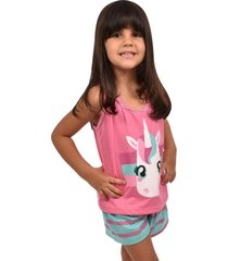pijama rt infantil menina blusa alça com short unicórnio 0297 rosa