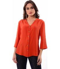 camisa decote v detalhe botoes manga 447300 laranja - kanui