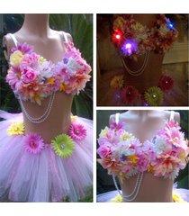 daisy led multicolor rhinestone pearl tutu rave bra, rave outfit, edc costume