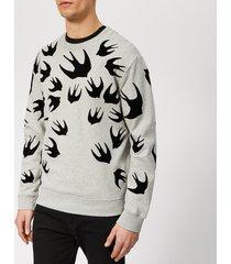 mcq alexander mcqueen men's swallow swarm flock sweatshirt - mercury melange - xxl - grey