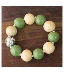 ceramic stretch bracelet, 'azacualpa moon' (honduras)