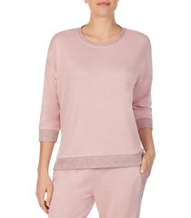 women's refinery29 double knit high/low pullover, size large - pink