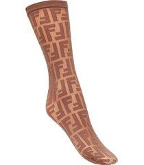 fendi logo embroidered socks - brown