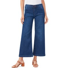 women's paige carly tie high waist ankle wide leg jeans, size 24 - blue